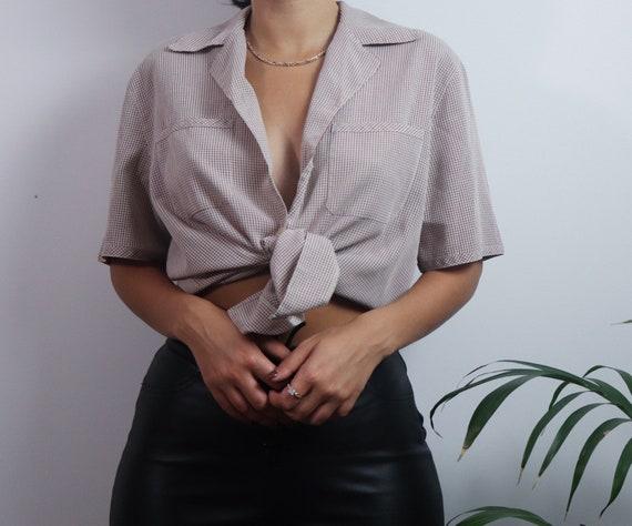 Vintage 1980s button blouse / vintage blouse / 198