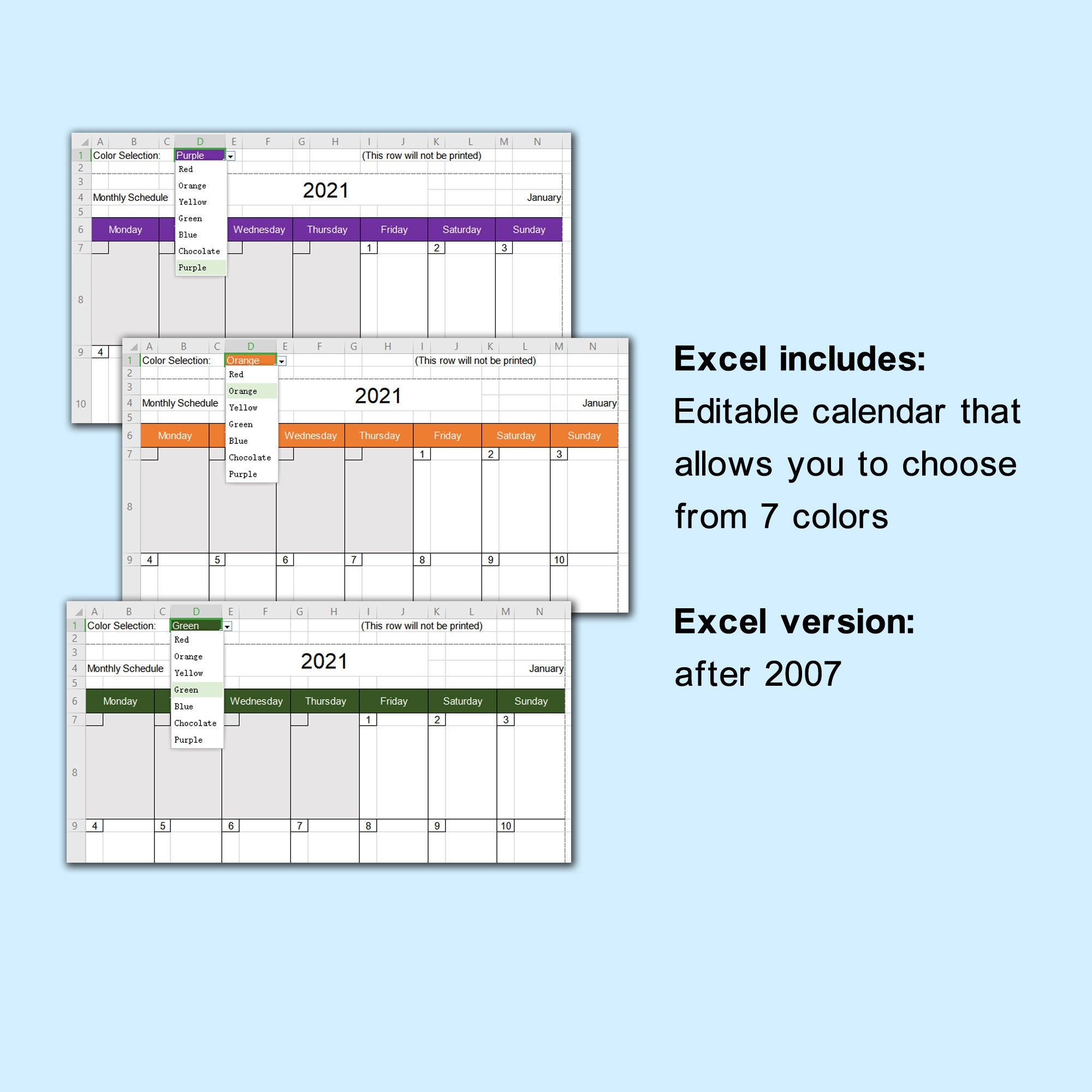 2021 monthly calendar weekly schedule planner   multi year ...