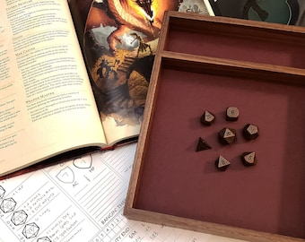 Walnut RPG dice tray - Customize Liner - Pathfinder, D&D, Dungeons and Dragons, Warhammer, rolling surface, dice box