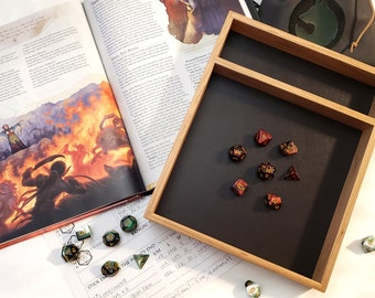 Cherry Wood Dice Tray - Customize - Pathfinder, D&D, Dungeons and Dragons, TTRPG rolling surface, dice box
