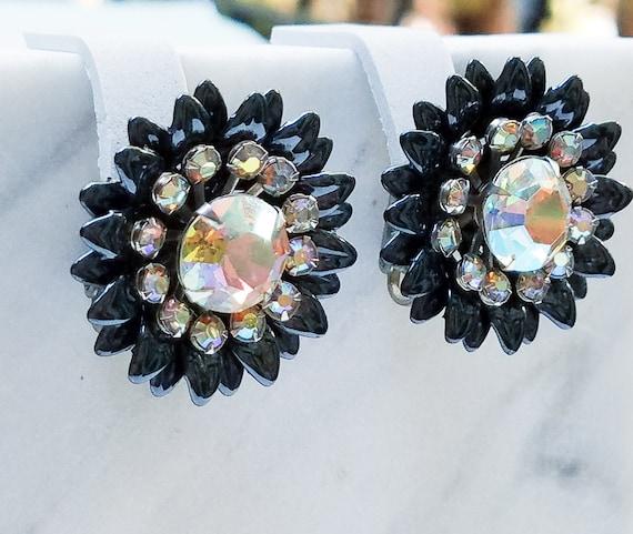 Japanned Rhinestone Flower Clip On Earrings