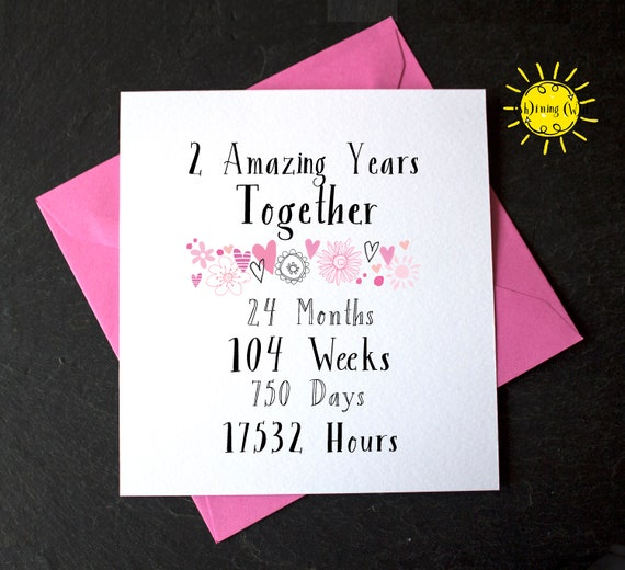 2nd Year Wedding Anniversary Two Amazing Years Together 2 Etsy