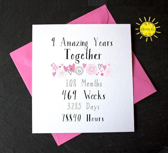 9th Year Wedding Anniversary Nine Amazing Years Together 9 Etsy