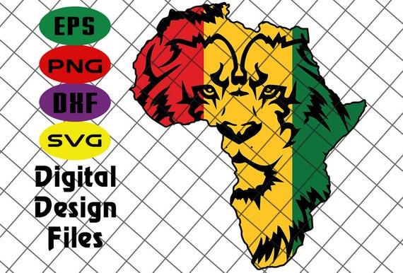 Africa Lion Map Svg Africa Silhouette Svg Lion Svg Africa Etsy