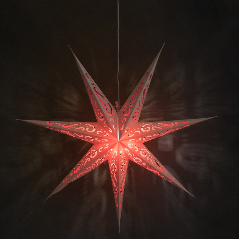 Chirstmas Star Lamp 7-Pointed Hanging Star Lampshade Home Decor 75cm Paper Star Lanterns