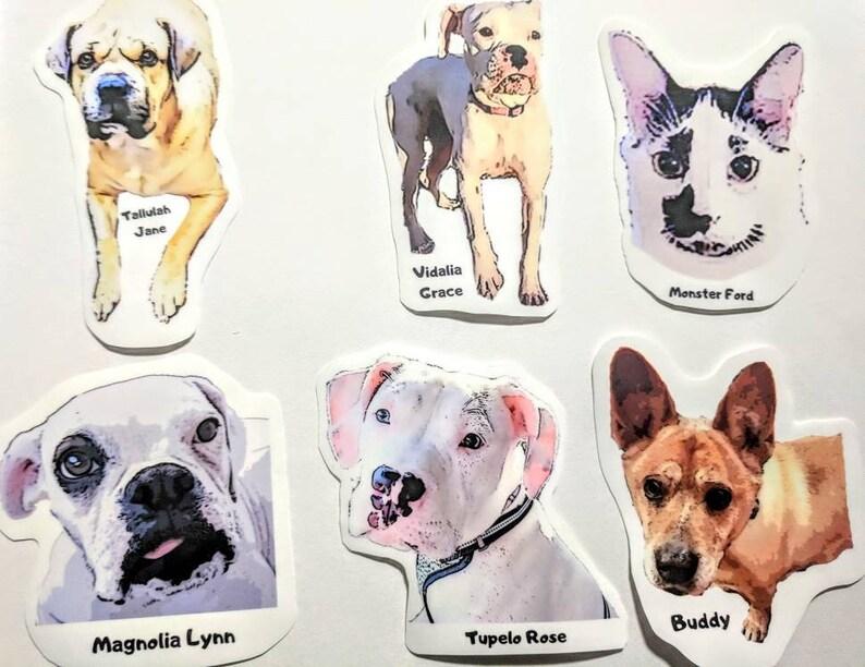 6 Medium Custom Pet Bumper Stickers = 6 Photos X 1 Sticker Each