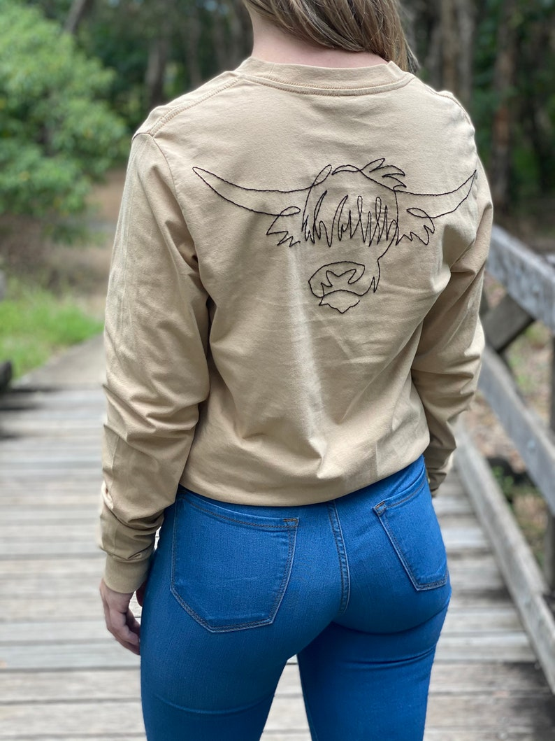 Made To Order Hand embroidered Highland Cow long sleeve shirt