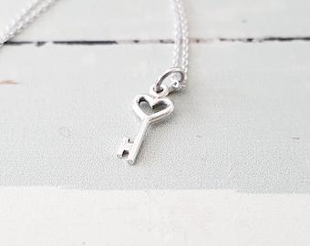 Sterling Silver Tiny Heart Key Charm Necklace
