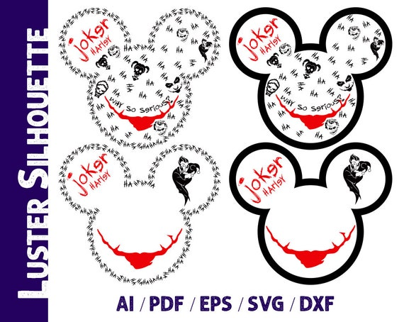 Joker Svg Joker Harley Silhouette Mickey Joker Vector Etsy