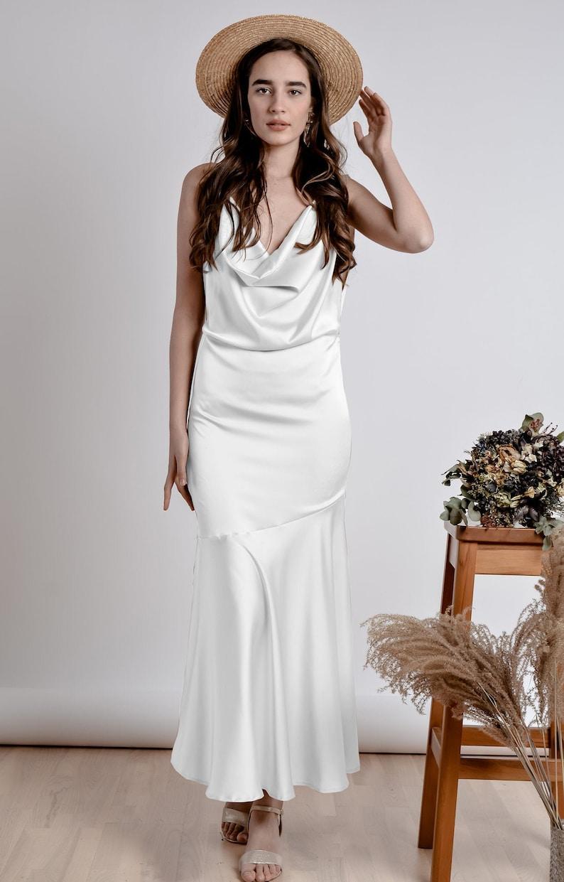 Witte bareback eenvoudige Bridal Midi jurk/zomer open rug image 1
