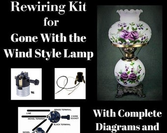Lamp Rewiring Kit for Gone-With-The-Wind Style Lamp