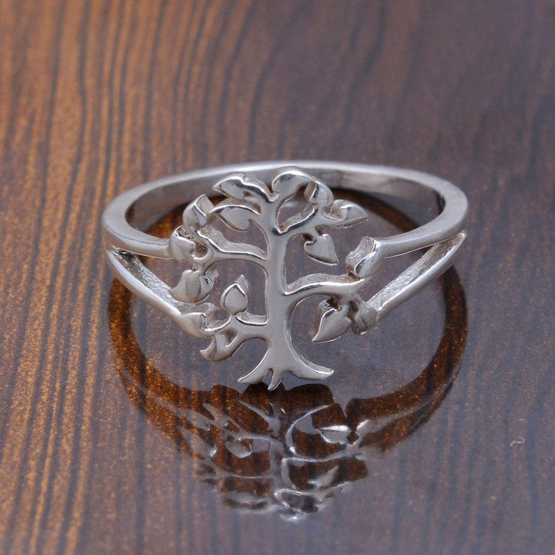925 silver ring Tree sign ring stacking silver ring plain silver band handmade silver ring
