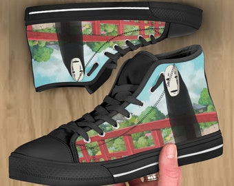 15f58dea9b7b Spirited Away shoes, No Face Anime hi tops, converse style, sneakers for  men women and kids. Birthday gift