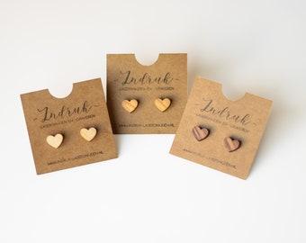 Minimalist wooden earrings - Heart - Mother's day gift