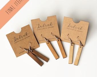 Minimalist wooden earrings - Bar XL nude