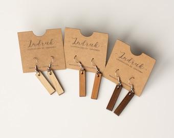 Minimalist wooden earrings - Bar nude