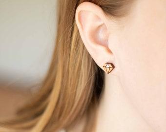 Minimalist wooden earrings - Diamond