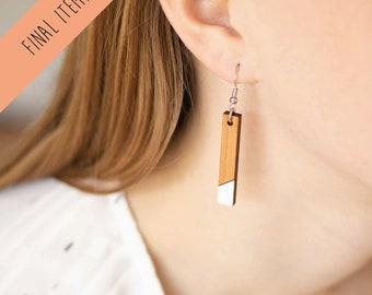 Minimalist wooden earrings - Bar XL