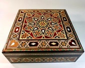Mother of Pearl Christmas Gift Mosaic Box Chocolate Box, Memory Box Wooden Marquetry, Jewelry Box Gift for her