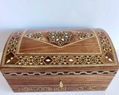 Elegant Mosaic Memory Box, Christmas Gift, Marquetry Jewelry Box, Lock Box, Birthday Gift for her, Handmade inlaid with Mother of Pearl