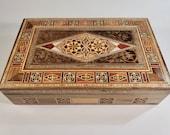 Handmade Memory Box, Cigar Box, Engraved Christmas Day Chocolate Box, Marquetry inlaid walnut wood, Gift for Him