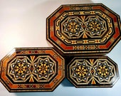 Mothers Gift Mosaic Boxes, Vintage Marquetry inlaid fine walnut Wood, Memory Box Gift for Her, Set of three boxes,