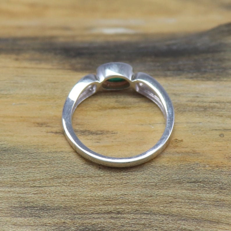Emerald Silver Ring Natural Emerald Ring 925 Sterling Silver Ring Handmade Ring Dainty Ring Emerald Ring Emerald Stacking Ring Love Gift