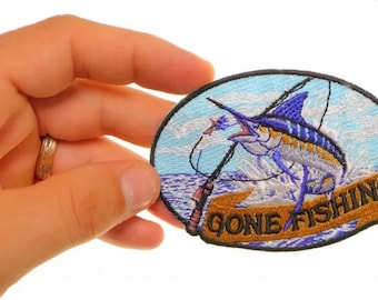 Flaming Marlin Patch 2 Inch Diameter Embroidered Patch