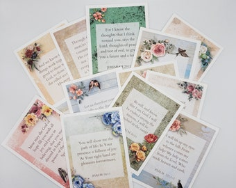 Scripture Memory Cards With Wooden Display Stand, 30 Bible Verses, Watercolor Floral Scripture Cards, Bible Journaling, Vintage Style Tags