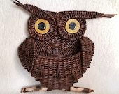 Woven wall hanging Owl, towel hooks, entryway organizer