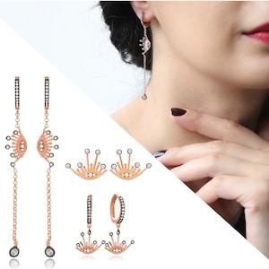 Trendy Zircon Stone Design Turkish Handmade 925 Silver Sterling Long Earrings-EAR-3480-EAR-3494
