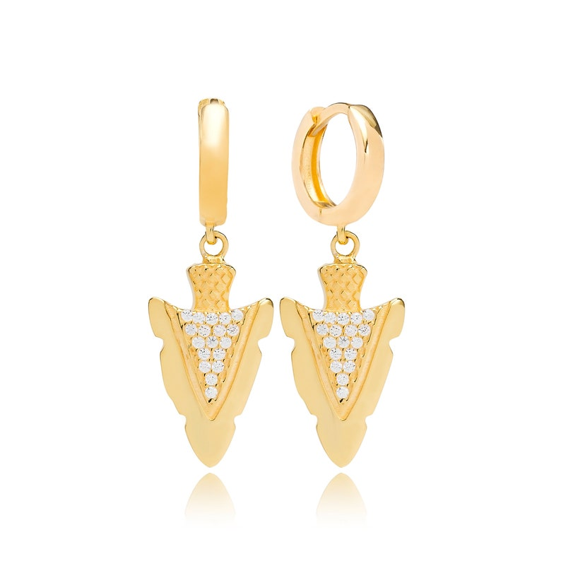 Silver Pointed Design Earring Sibgle Arrow Shape Earring Turkish Handmade 925 Sterling Silver Earrings SPENTA Jewelry
