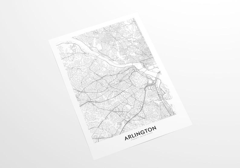 Wall Art Decor City Map Wall Art Wall Art Arlington City Map Print Travel Poster Arlington Virginia Map Print Arlington Map