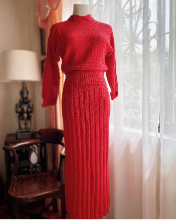Classic 1950s red two-piece knit set