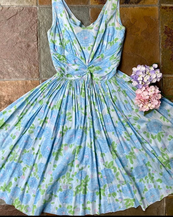 1950s Jerry Gilden blue and pink foral dress