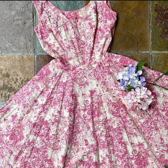 1950s Jerry Gilden Pink and cream dress