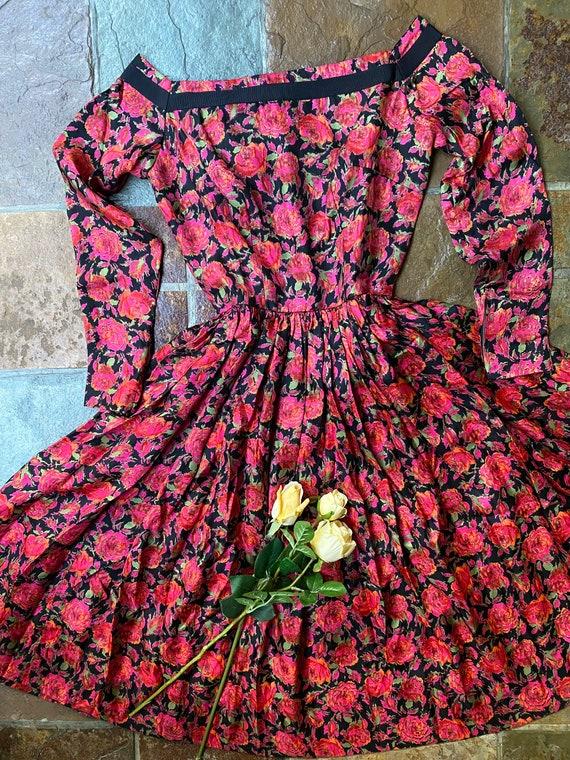 1950s Mr Mort silk rose print dress Sz XS