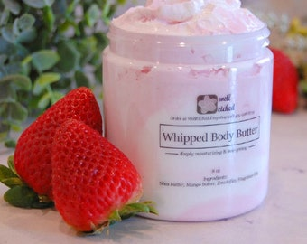 Strawberries and Cream Whipped body butter shea butter mango butter Non-greasy Natural Moisturizing Heals chapped hands and dry skin