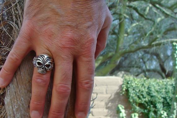 Skull Textured Men's Biker Ring Size 10 / Gothic B