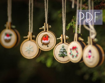 DIY Christmas 6 Mini Embroidery Hoop Decorations/Earrings *Digital Pattern* step by step festive craft guide PDF only