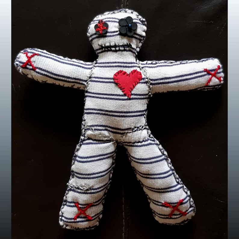 Hand made, one of a kind Magick stripy blue and white Poppet/Voodoo Doll