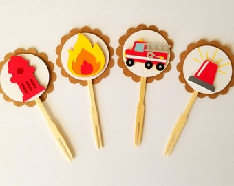 Fire department cupcake toppers, Firetruck cupcake toppers