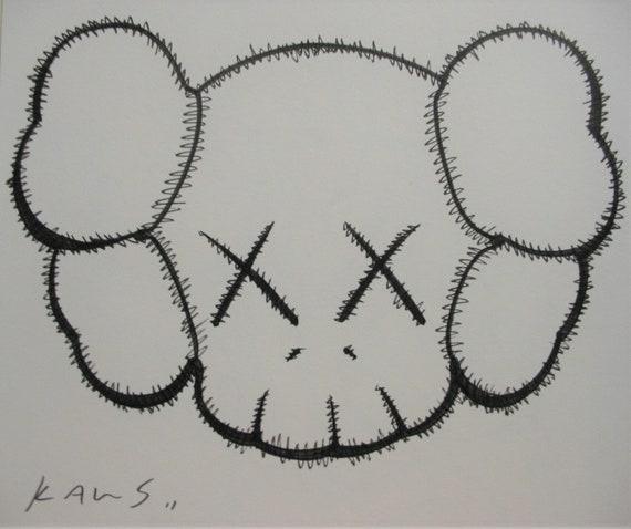 KAWS, drawing, painting, comic, original, artwork, signed, Companion,  grafitti, banksy style