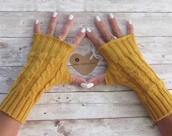 Baby Alpaca Wrist Warmers, Fingerless Gloves, Texting Gloves, Long Gloves, Arm warmers, hand warmers Long Gloves Women Fingerless