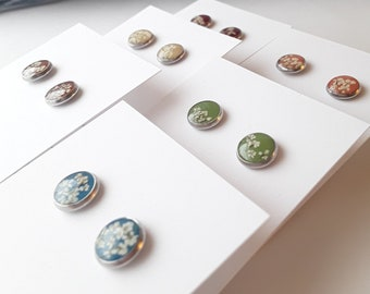 Earth Tone Collection, Real Flower Stud Earring, Natural Women, Japanese Maple, Sweet Potato, Spanish Olive, River Blue, Chocolate, Latte