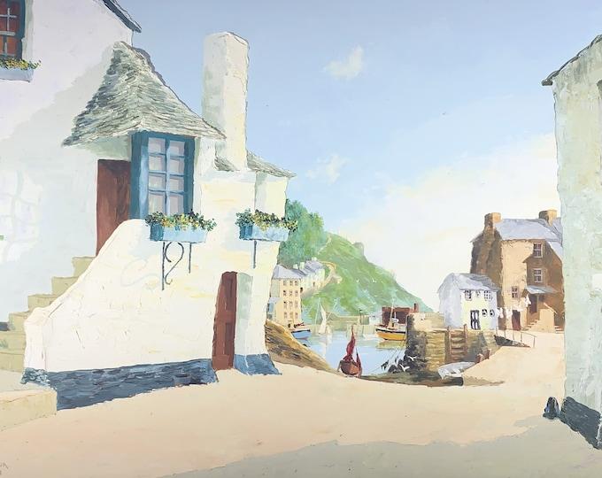 Polperro Cornwall, Oil on Board Original Painting by Jas R Richardson (175)