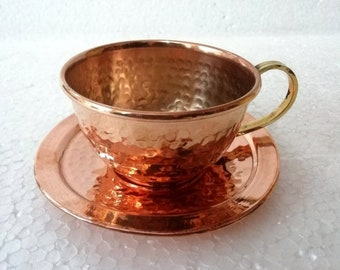 8a1d7876b7b Indian Handmade 100% Pure Copper Ayurveda health healing Tea Cup Set  Antique Tea Serving Cups With Brass handle