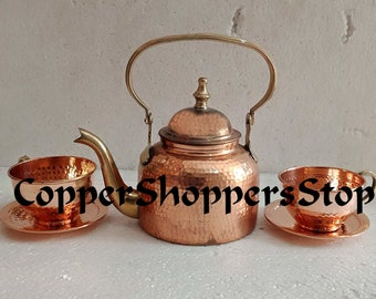 d68606304be Handmade Hand hammered Pure Copper Ayurveda benefit Drinkware Tea Pot  Designer Serving kettle With Copper Cup Tea Set With Saucer