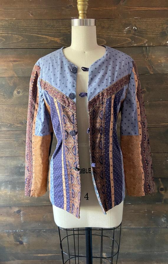 Vintage 90's quilted calico jacket / kantha coat … - image 8