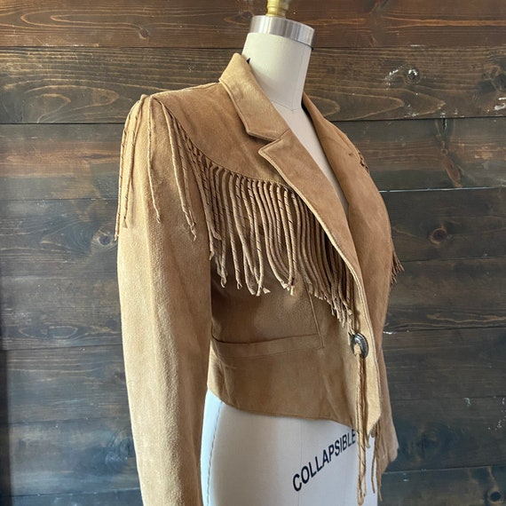 Vintage 80's suede fringe jacket / cropped fit / … - image 4
